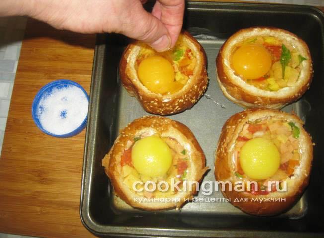 Горячие бутерброды с яйцом в духовке - рецепт пошаговый с фото
