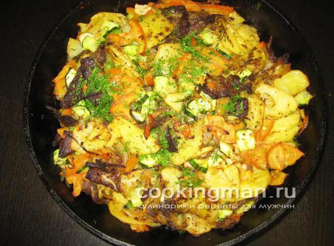 Жаркое из говядины с картошкой на сковороде