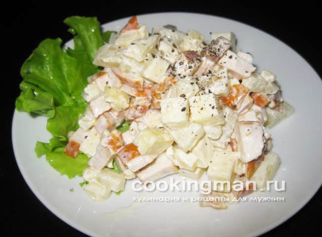 Рецепты вкусных салатов с консервированными ананасами