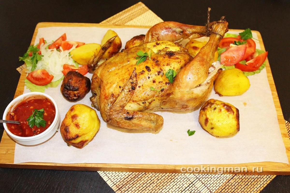 Целая курица с ананасами в духовке рецепт 17