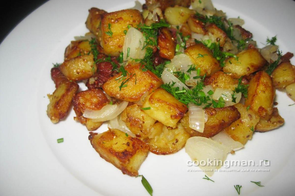 Картофель жареный на свином сале