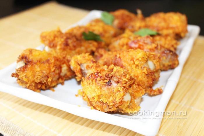 Рецепт куриных крылышек в панировке