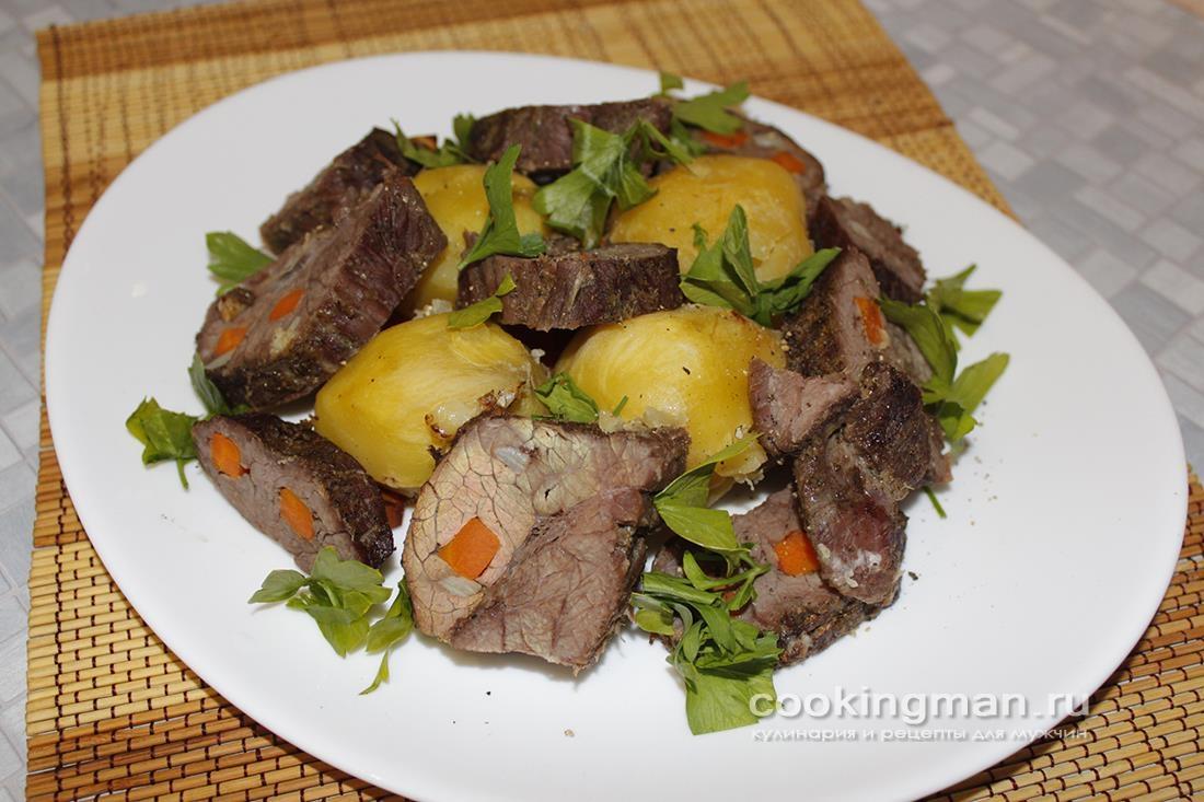 Мясо буйвола запечённое с картошкой в духовке