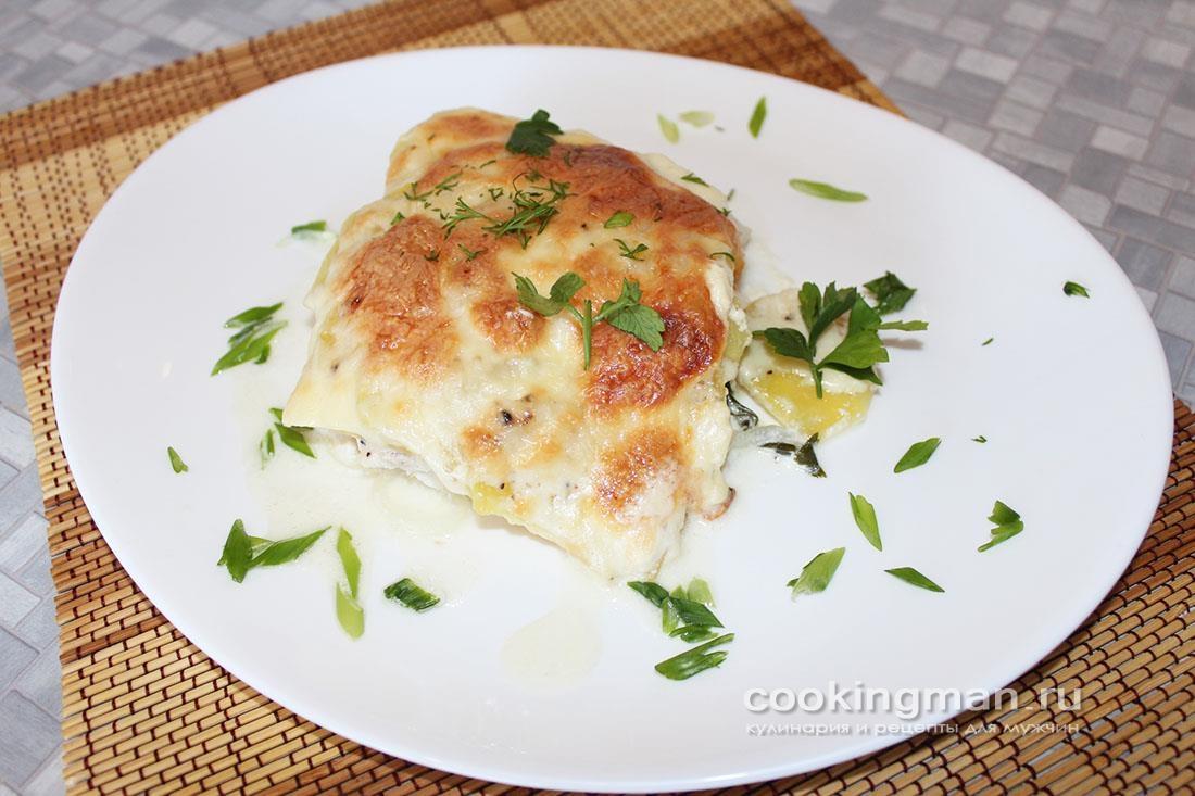 Чир с картошкой в духовке под сыром