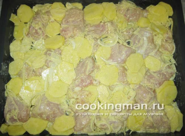 Картошки в духовке с сыром на протвине