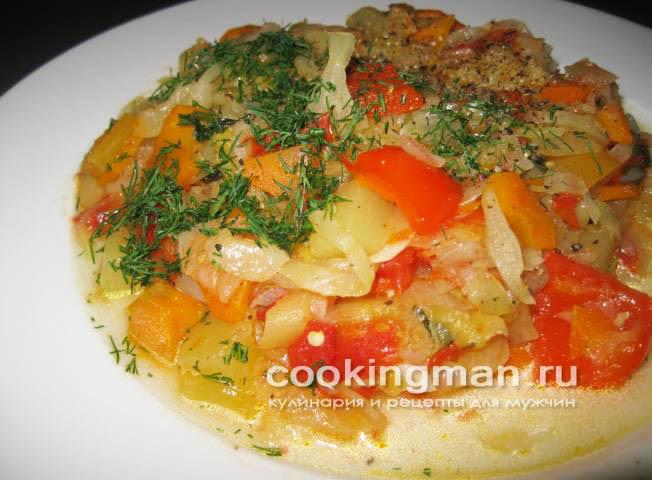 Тушеной картошки с капустой и кабачком