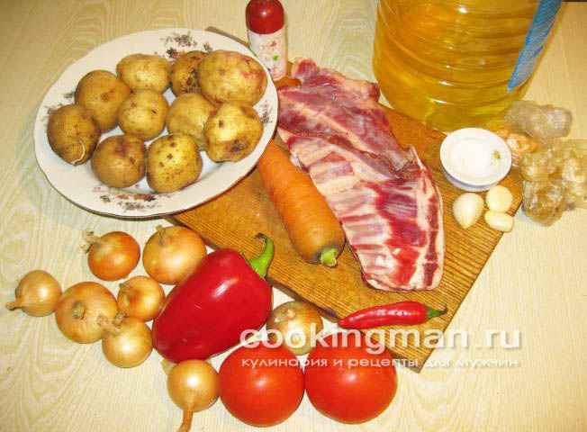 Картошка с мясом и овощами на сковороде рецепт с фото