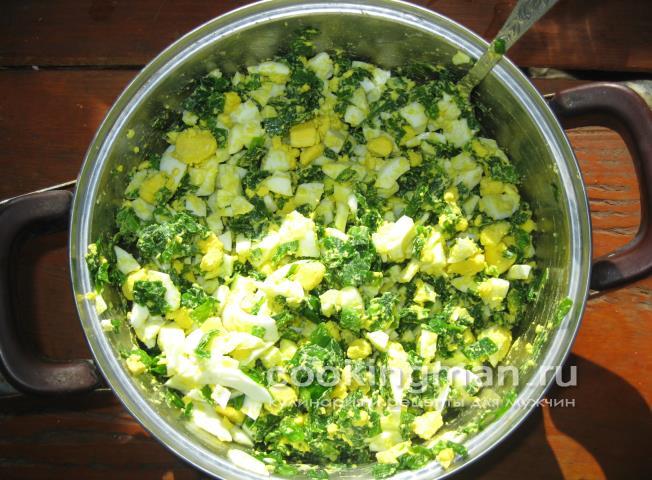 Как приготовить начинку для пирожков из лука и яиц и риса
