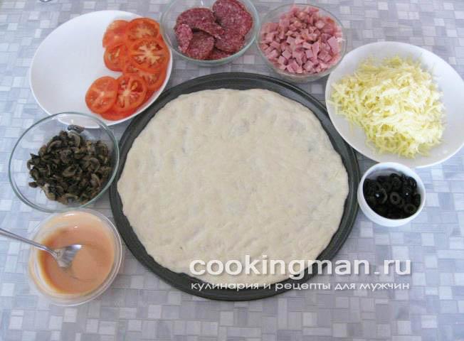 рецепт пиццы с колбасой