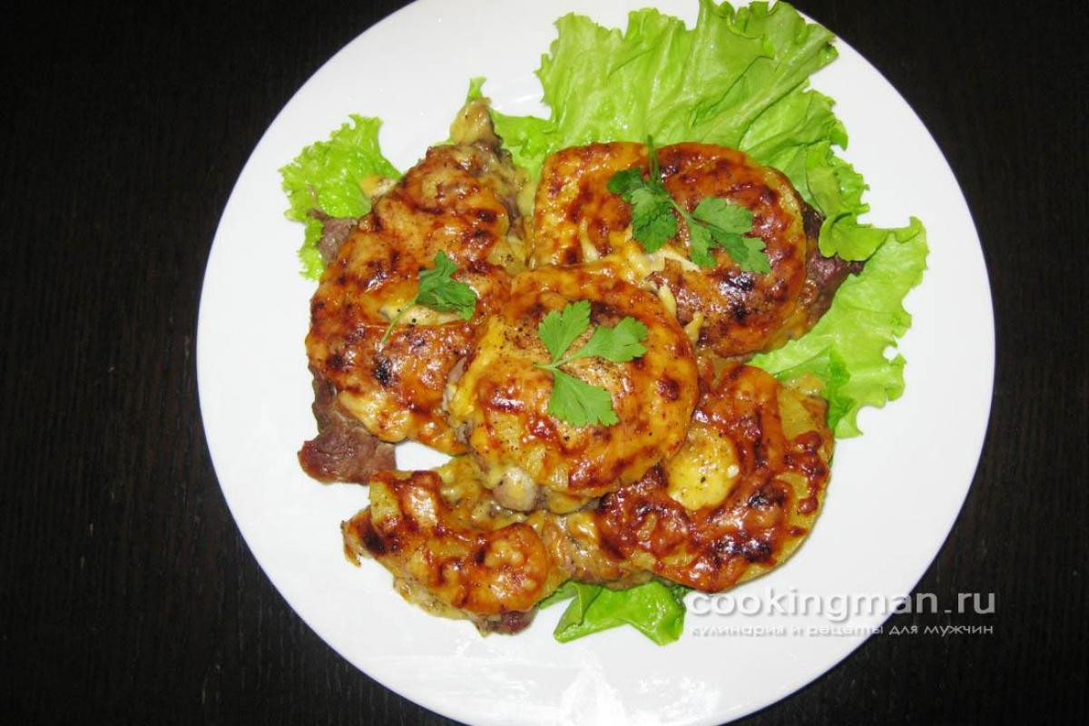 мясо под ананасами в духовке рецепт